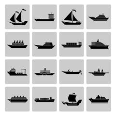 Ship and Boats Icons Set