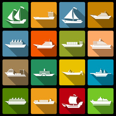 Ship and boats icons set flat