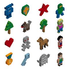 Pixel characters isometric