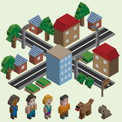 Isometric pixel city