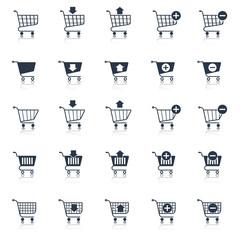 Shopping cart icons black