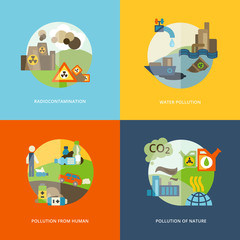 Pollution Icons Flat