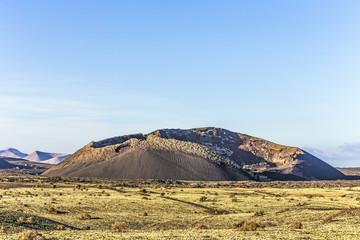 volcanic crater of caldera blanca in Lanzarote, Tinajo