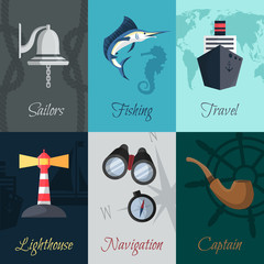 Nautical mini posters set