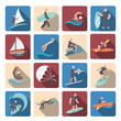 Water sports icons set colored - 73636523