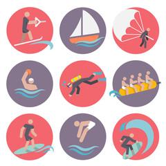 Water sports icons set flat