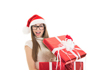 Surprised Christmas woman opening a gift box