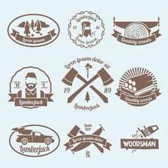 Lumberjack woodcutter label