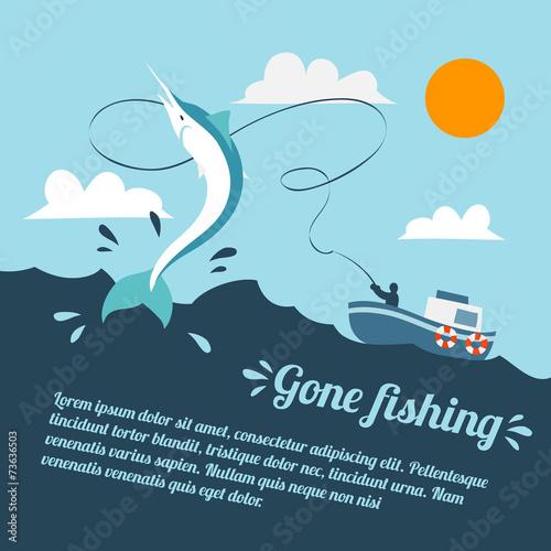 Fishing boat poster - 73636503
