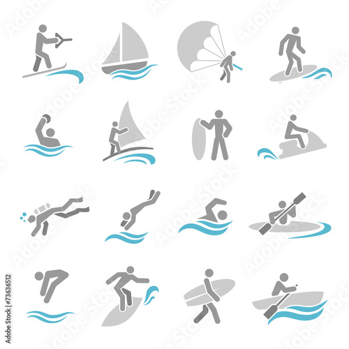 Water sports icons set - 73636512
