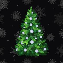 Beautiful christmas tree with white balls