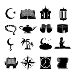 Islam icons set black