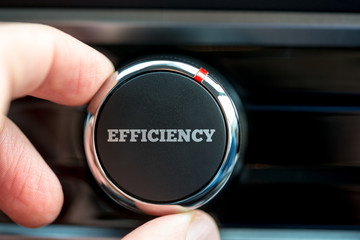 Turning a power button reading Efficiency