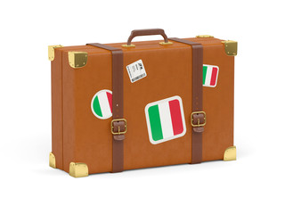 Suitcase with flag of italy
