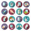 Digital health icons set