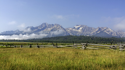 Iconic view of the Sawooth mountains in Idaho