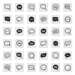 Vector black and line speech bubble  icons