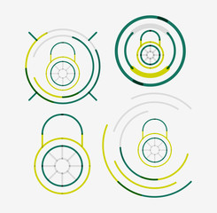 Thin line neat design logo set, lock concepts