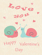 Happy Valentine's Day card with snail