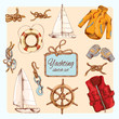 Yachting sketch set - 73637942