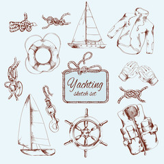 Yachting sketch set