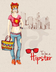Hipster girl city