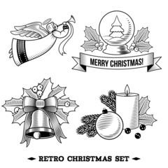 Christmas icons black and white set