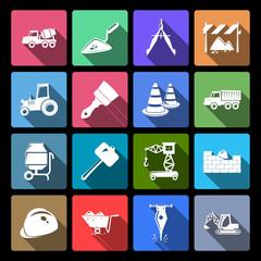Construction Icons Set Flat