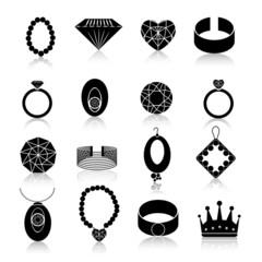 Jewelry icon set black