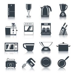 Kitchen Appliances Icons Black