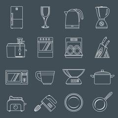 Kitchen appliances icons outline