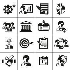 Business management icons black