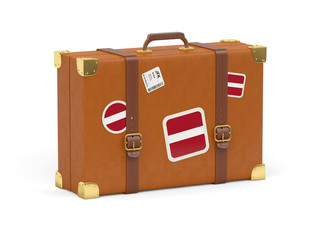 Suitcase with flag of latvia