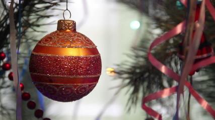 close-up Christmas tree and lights
