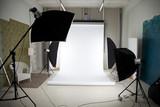 Fototapety Photo studio with lighting equipment