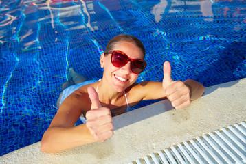 Woman in the pool.