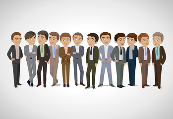 Group Of Business Men - Isolated On Gray Background