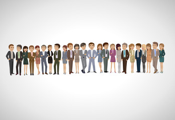 Group Of Business People - Isolated On Gray Background
