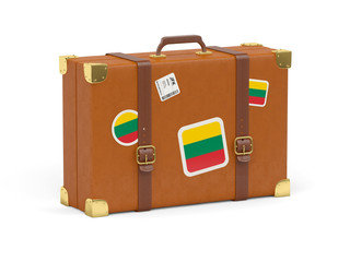 Suitcase with flag of lithuania