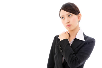 asian businesswoman thinking on white background