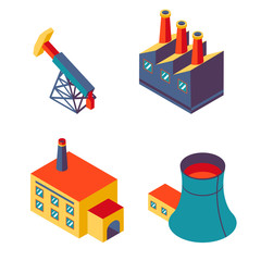 Flat isometric factory icons