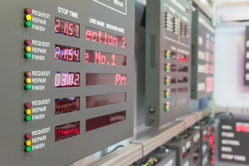 Machine status monitor in control room in factory