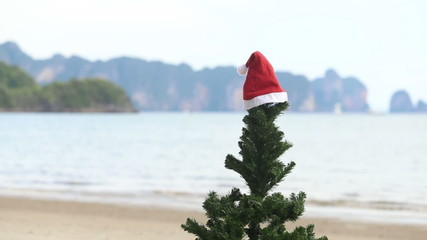 New Year tree with a Christmas hat on seacoast with the islands
