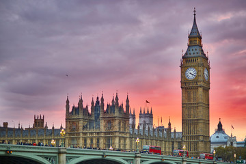 Big Ben and Westminster Bridge at sunset, London, UK