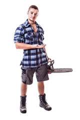 Lumberjack showing something