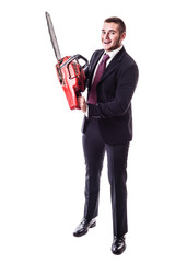 Crazy Businessman holding a chainsaw