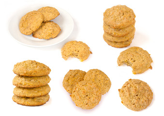 Various cookies isolated on white