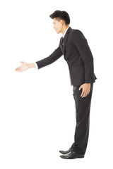 side view  of business man with handshaking