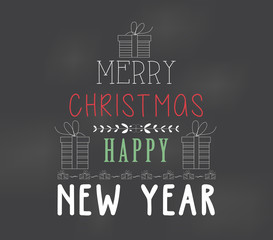 Poster merry christmas happy chalk color