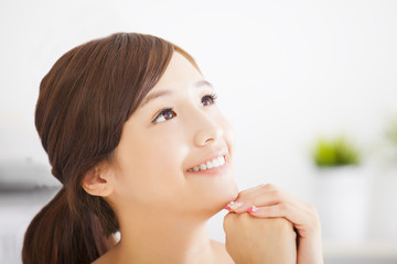 Young attractive asian woman with clean skin